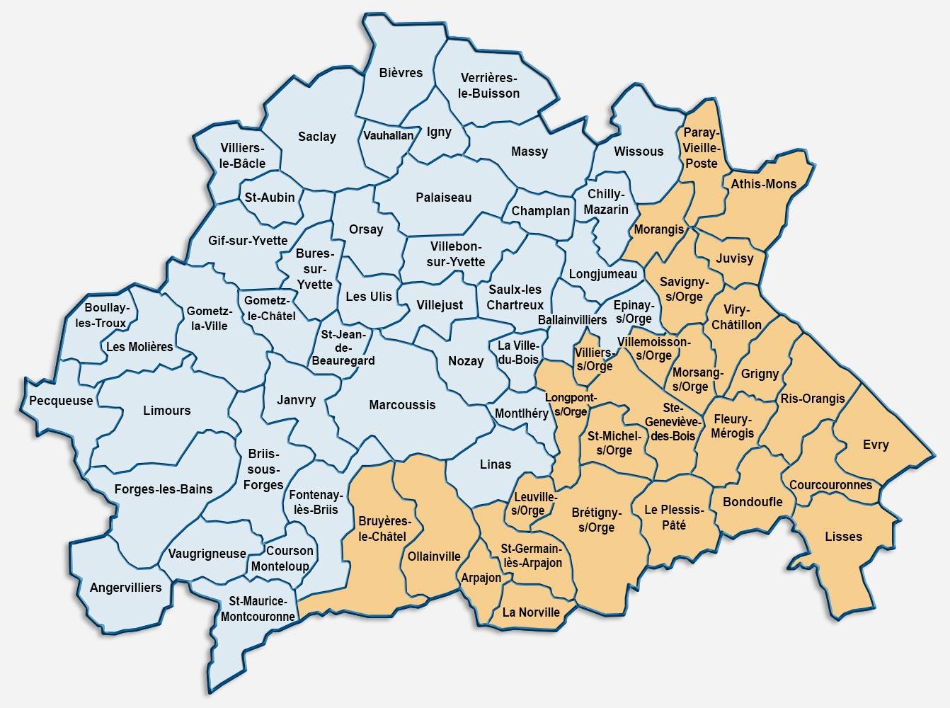 Carte de la zone d'activité de MSSD (Nord-Ouest de l'Essonne)